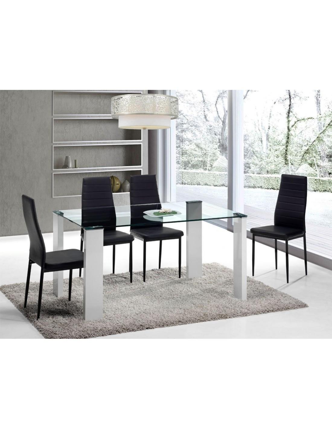 Mesa de comedor de cristal con patas en color - Patas para mesa de cristal ...