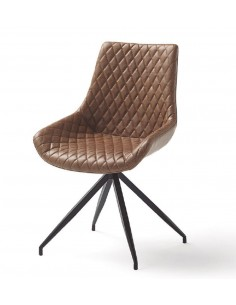 Silla giratoria tapizada en color marrón de diseño moderno