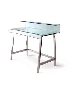 Mesa escritorio de cristal con patas cromadas