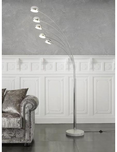 Lámpara de pie cromada con pata de marmol y 5 focos