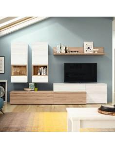 Mueble de salón roble natural y polar doble modular
