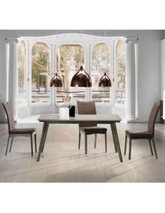 Mesa de comedor rectangular de fresno maciza