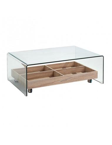 Mesa de centro de cristal con revistero de madera y ruedas