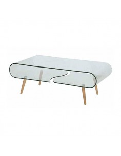 Mesa de centro de cristal curvo con patas de madera