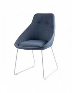 Silla tapizada en color azul light de diseño moderno ALBA