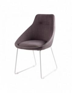 Silla tapizada en color gris light de diseño moderno ALBA