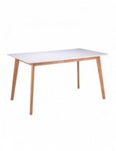 Mesa nórdica blanca con patas de madera ALICE 120 roble/blanco