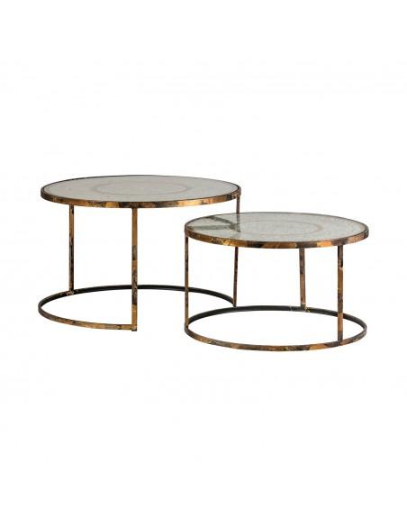 Juego 2 mesas auxiliares de cristal y metal de diseño