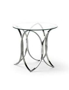 Mesa auxiliar de cristal con acero inox en forma de óvalos