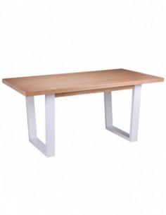 Mesa con tapa de roble natural y patas blancas fija APRIL 160 roble-blanco