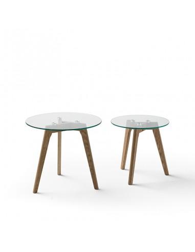 Juego dos mesas de centro de cristal y patas de madera