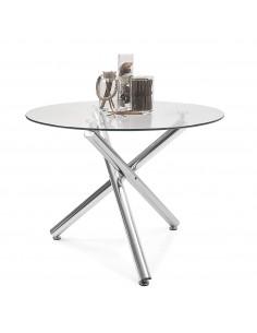 Mesa redonda de cristal y patas cromadas de estilo moderno