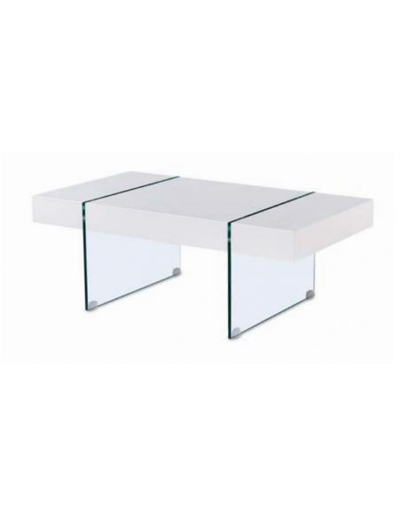 Mesa de centro patas de cristal y tablero lacado blanco