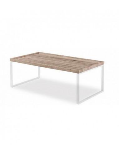 Mesa de centro roble y metal blanco con reborde