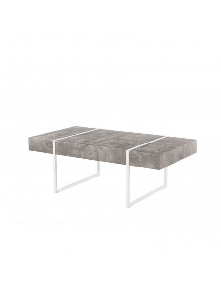 Mesa de centro estilo industrial con patas pintadas blancas