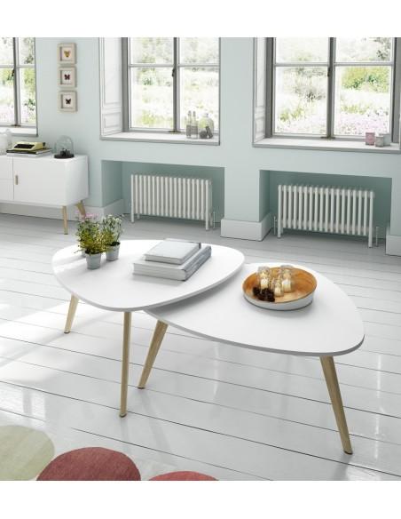 Conjunto 2 mesas de centro blancas con pata de madera nórdico