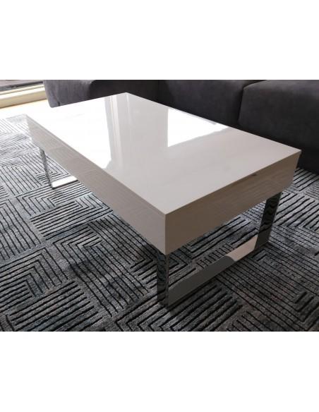 Mesa elevable lacada en blanco con pata cromada