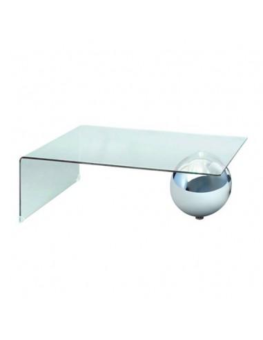 Mesa de centro de cristal con bola de acero cromado