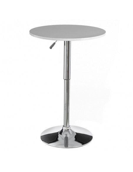 Mesa alta elevable blanca estilo bar con altura regulable