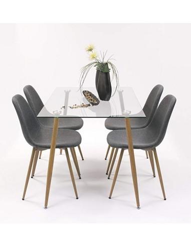 Mesa de comedor de cristal con patas simil madera estilo nórdico