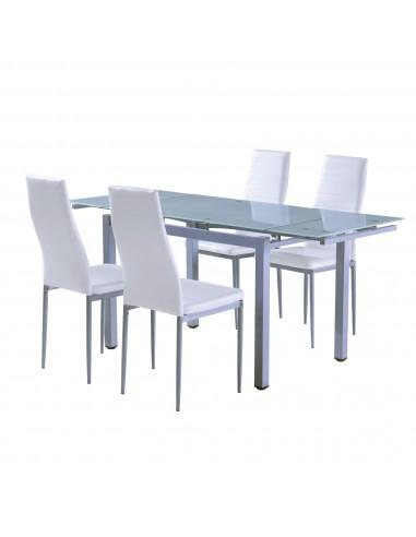 Mesa de comedor extensible con cristal translúcido con patas de