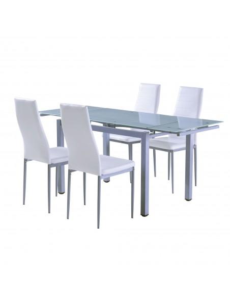 Mesa de comedor extensible con cristal translúcido con patas de metal