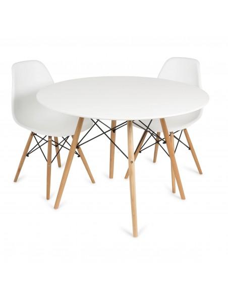 Mesa de comedor redonda vandyk blanca con patas de madera