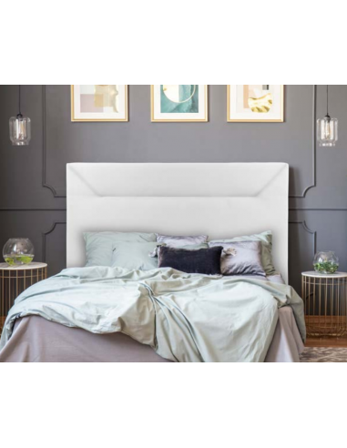 Cabecero tapizado en polipiel color blanco de diseño minimalista