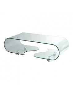 Mesa de centro de cristal curvado en S con 4 Ruedas