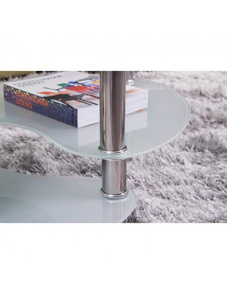 Mesa de centro con cristal ovalado y patas cromadas