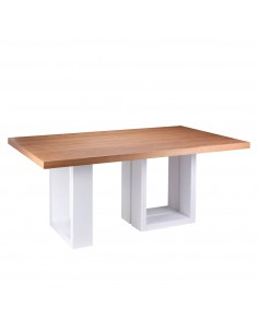 Mesa con tapa roble y patas blancas fija TELMA 180 blanco/roble