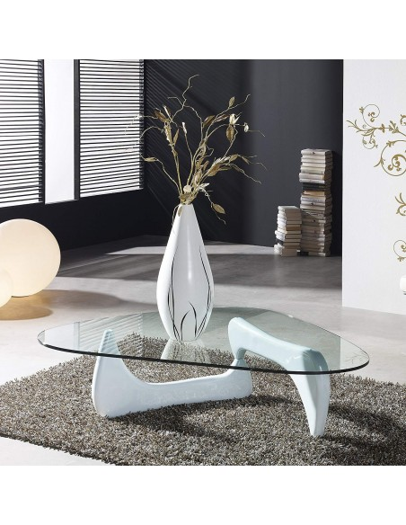 Mesa de centro de cristal ovalado con patas blancas