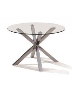 Mesa redonda de cristal con pata de acero de diseño moderno