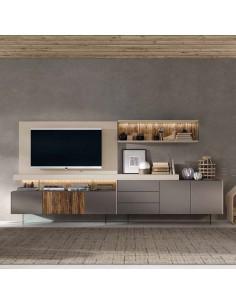 Mueble de salón gris cuero Kazzano Royal