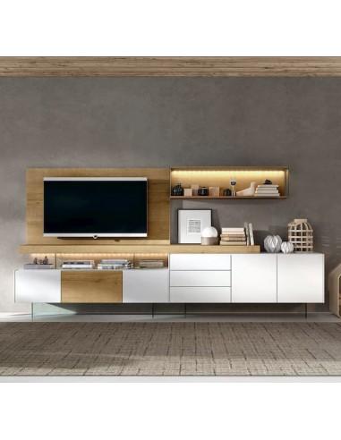 Kazzano Royal R45 Mueble de salón blanco y roble
