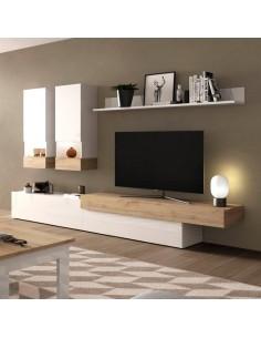 Mueble de salón Aura blanco y roble