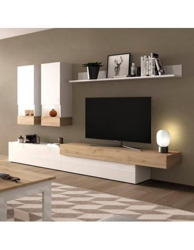Mueble de salón Ramis Aura blanco y roble | Oso Perezoso Pontevedra