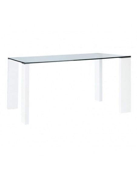 Mesa de comedor de cristal con patas en color blanco