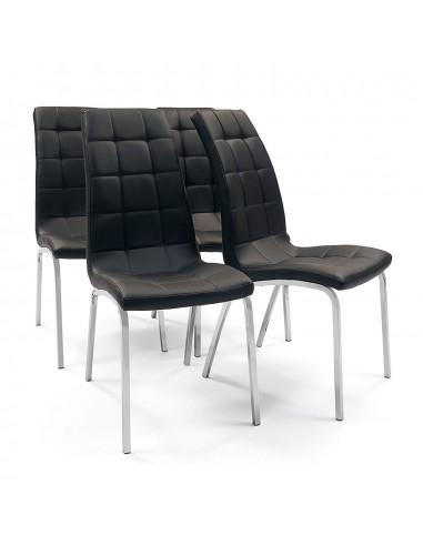 Juego de 4 sillas de comedor tapizadas en