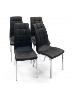 Juego de 4 sillas de comedor tapizadas en polipiel color negro