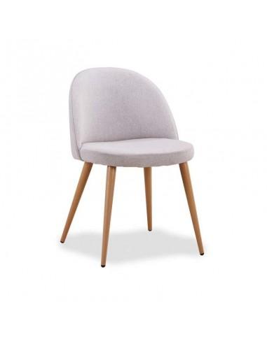Conjunto 4 sillas tapizadas en tela gris tipo lido con patas
