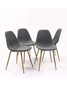 Conjunto 4 sillas tapizadas en tela gris con patas metal simil