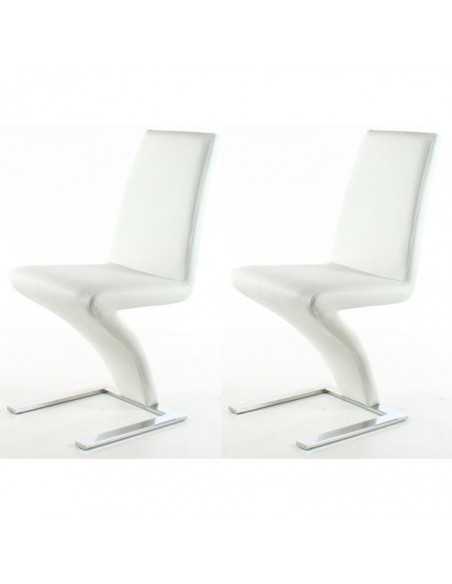 Conjunto 2 sillas tapizadas Z en polipiel con base de patín