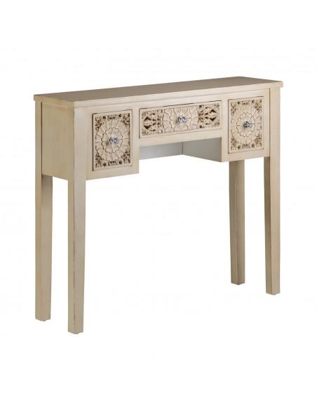 Consola de diseño folklórico fabricada en madera lacada en crema