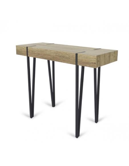 Consola de diseño industrial color madera con patas metálicas