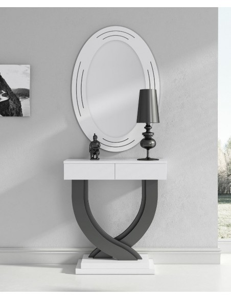 Mueble recibidor de diseño moderno lacado en blanco brillo y grafito