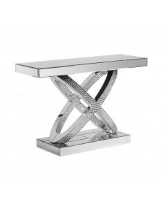 Consola de diseño con patas en x con espejos estilo órbita