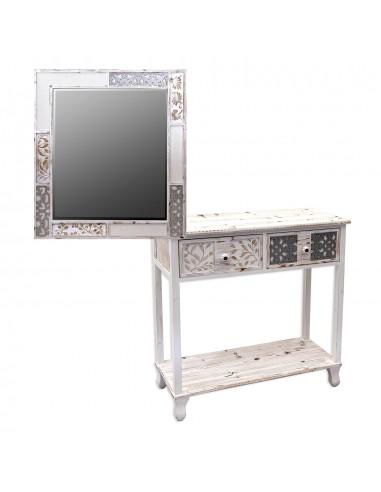 Consola con espejo de madera CASABLANCA