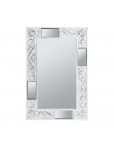 Espejo Texturas rectangular de diseño lacado en blanco con dibujos grabados