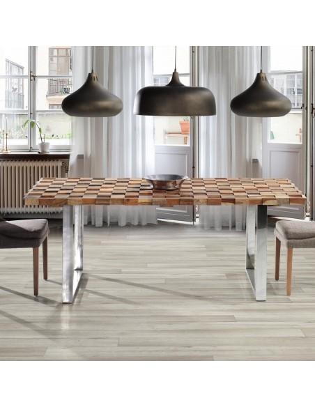 Mesa de comedor rústica con tapa de madera acacia y patas de acero